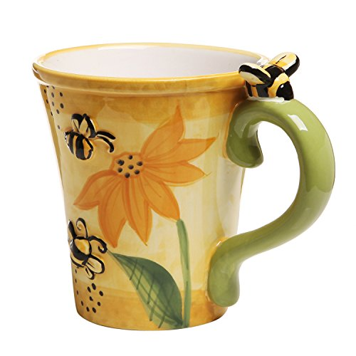 Bumble Bee Sunflower Design Yellow Ceramic Coffee Tea